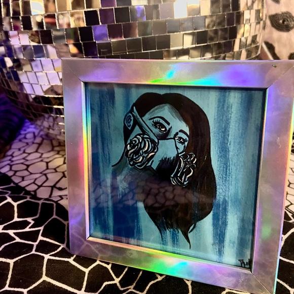 Gas Mask Beauty Art Print 4x4 w/frame